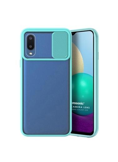 Microsonic Samsung Galaxy A02 Kılıf Slide Camera Lens Protection Kırmızı Turkuaz